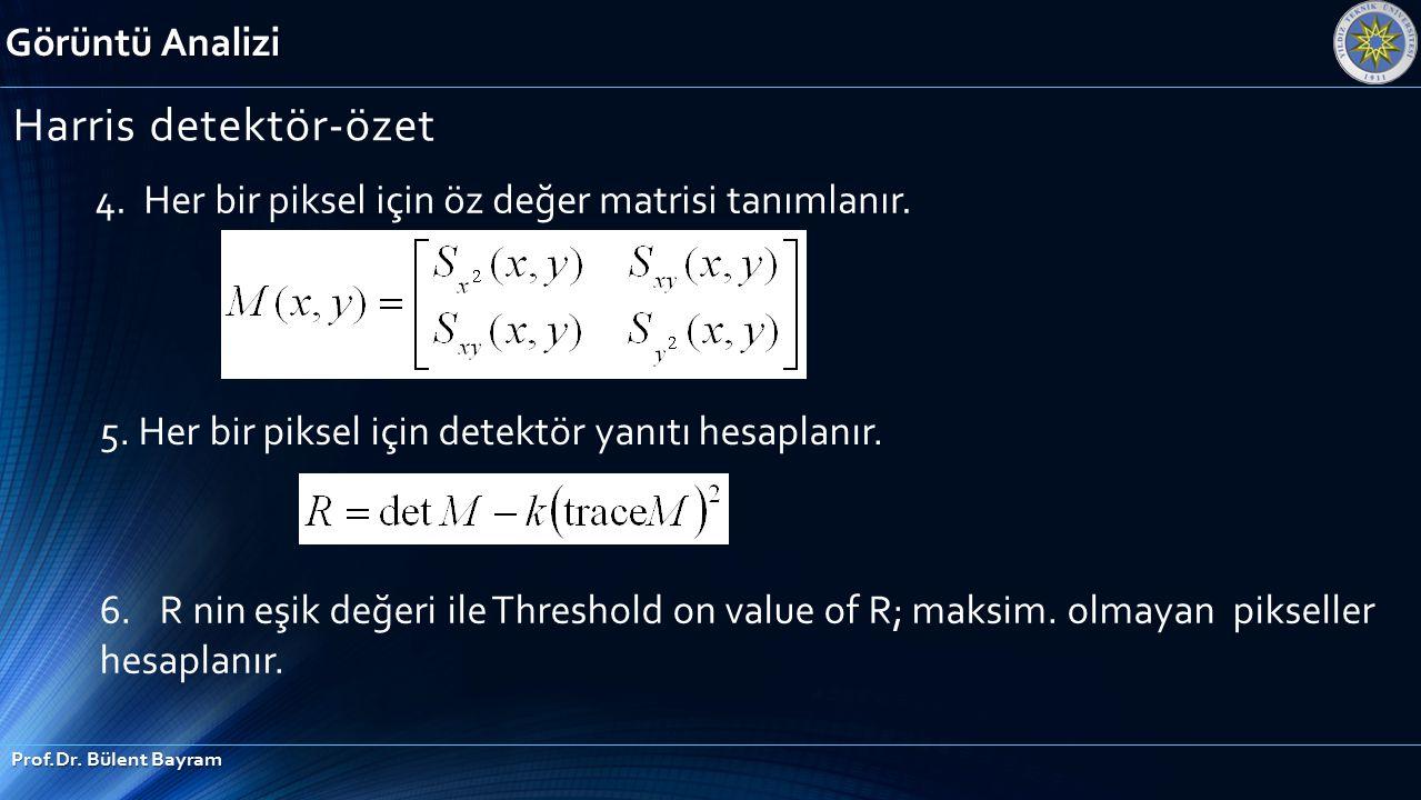 Görüntü Analizi Prof.Dr. Bülent Bayram Harris detektör-özet 4. Her bir piksel için öz değer matrisi tanımlanır. 5. Her bir piksel için detektör yanıtı