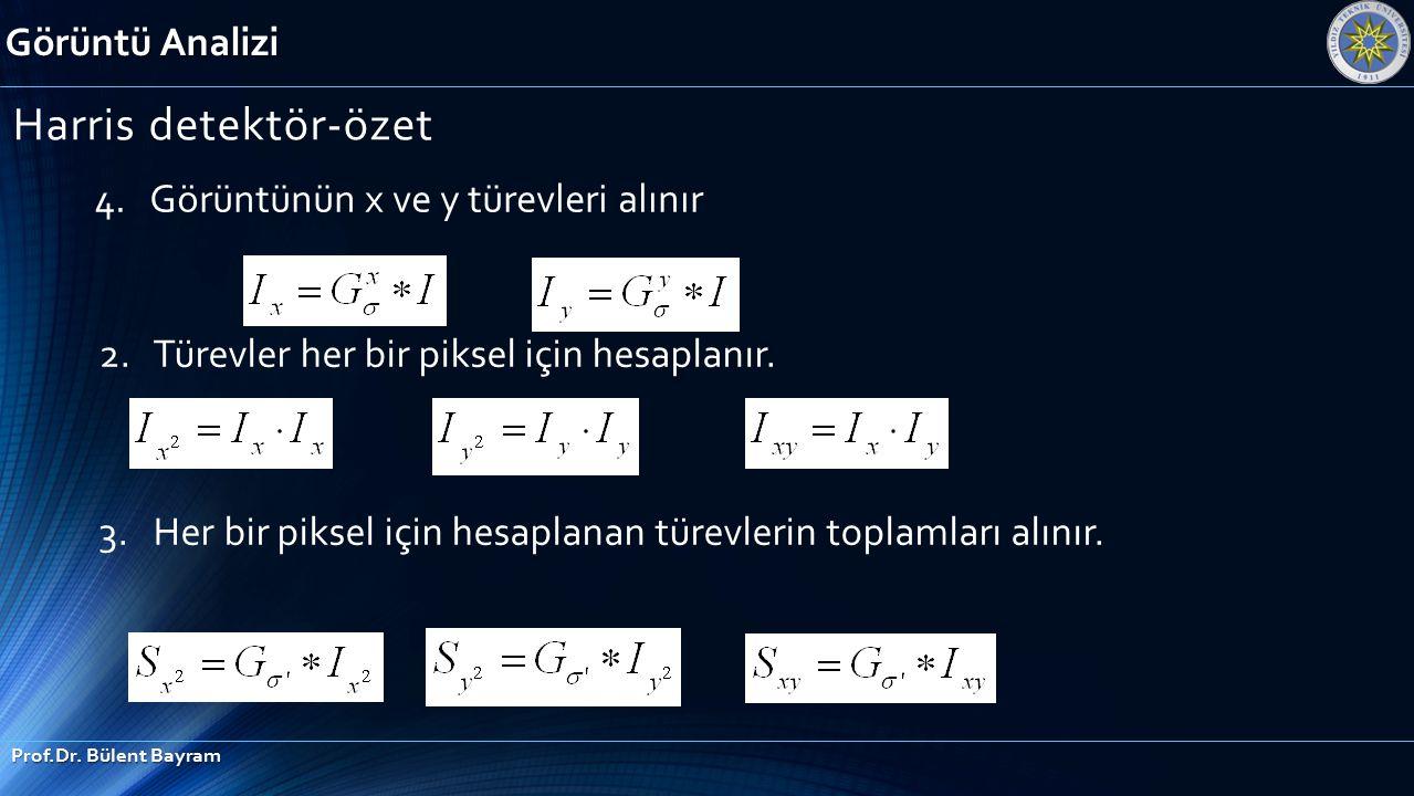 Görüntü Analizi Prof.Dr. Bülent Bayram Harris detektör-özet 4. Görüntünün x ve y türevleri alınır 2. Türevler her bir piksel için hesaplanır. 3. Her b