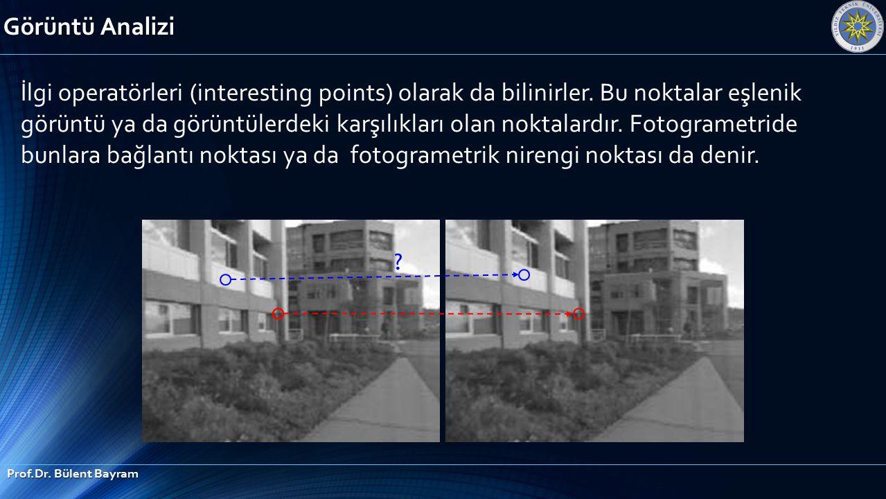 Görüntü Analizi Prof.Dr. Bülent Bayram ? İlgi operatörleri (interesting points) olarak da bilinirler. Bu noktalar eşlenik görüntü ya da görüntülerdeki