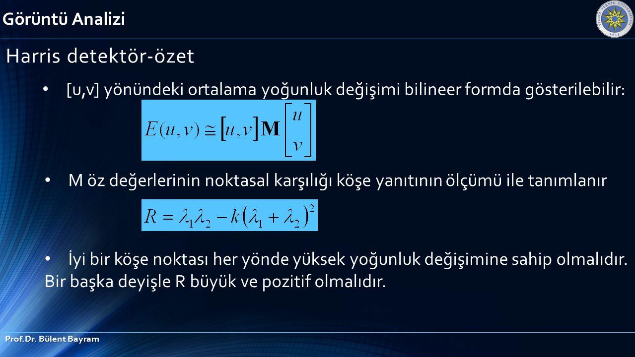 Görüntü Analizi Prof.Dr. Bülent Bayram Harris detektör-özet [u,v] yönündeki ortalama yoğunluk değişimi bilineer formda gösterilebilir: M öz değerlerin