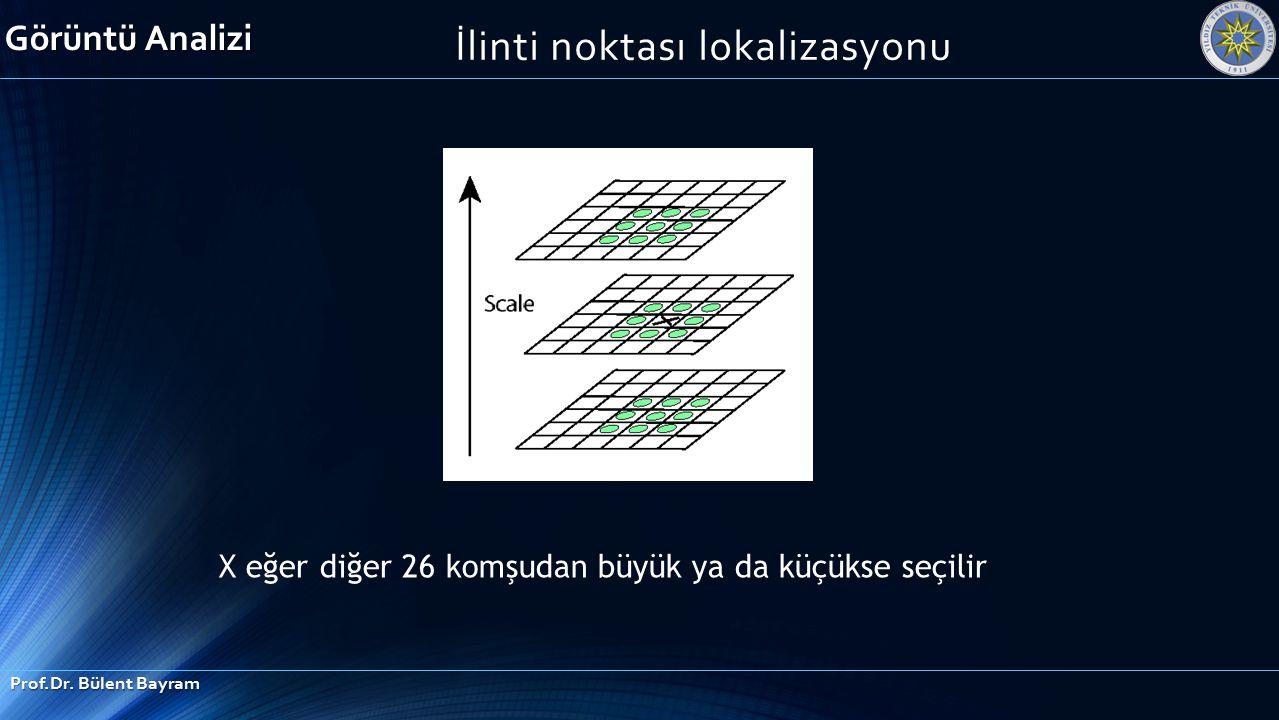 İlinti noktası lokalizasyonu X eğer diğer 26 komşudan büyük ya da küçükse seçilir Görüntü Analizi Prof.Dr. Bülent Bayram