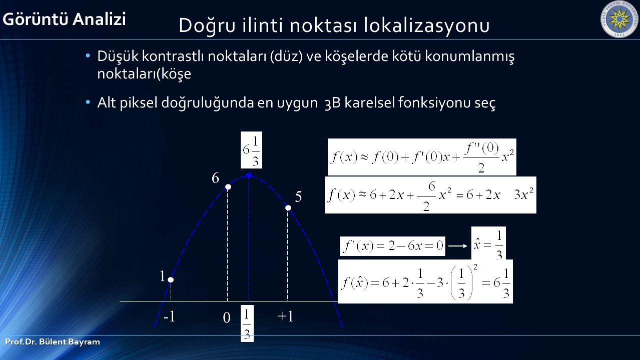 1 6 5 0 +1 Görüntü Analizi Prof.Dr. Bülent Bayram Düşük kontrastlı noktaları (düz) ve köşelerde kötü konumlanmış noktaları(köşe Alt piksel doğruluğund