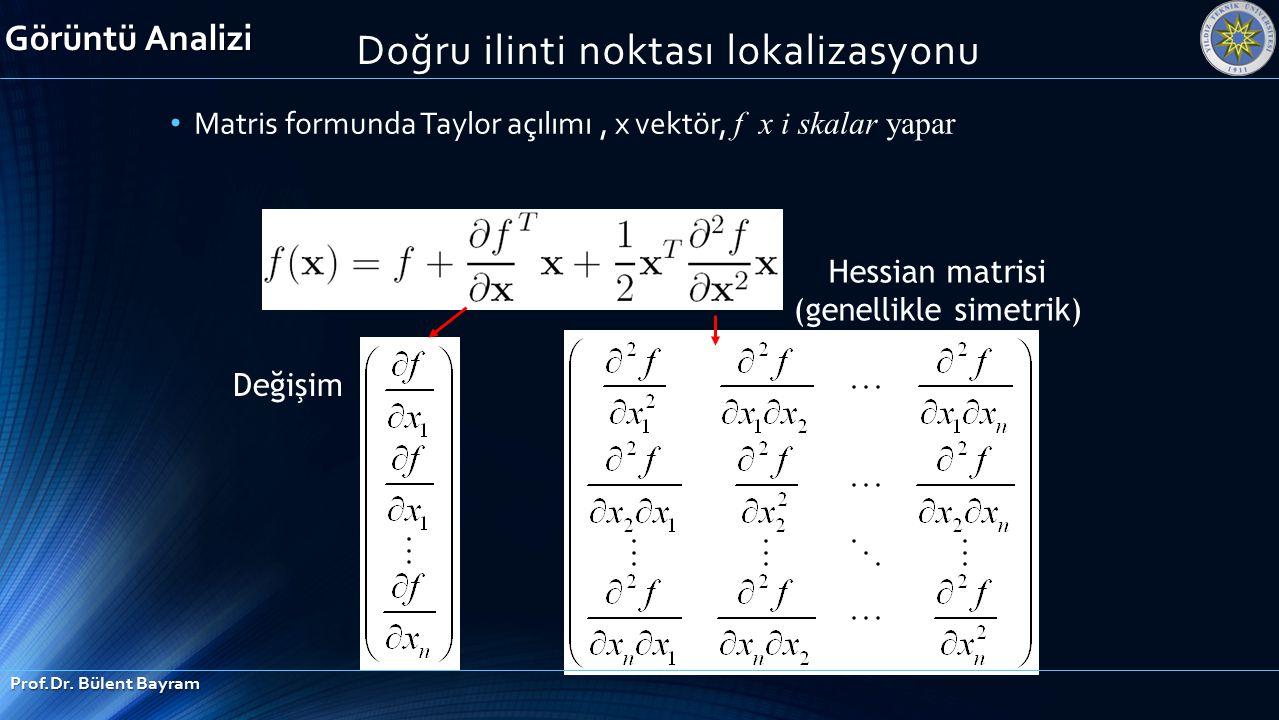Matris formunda Taylor açılımı, x vektör, f x i skalar yapar Hessian matrisi (genellikle simetrik) Değişim Görüntü Analizi Prof.Dr. Bülent Bayram Doğr