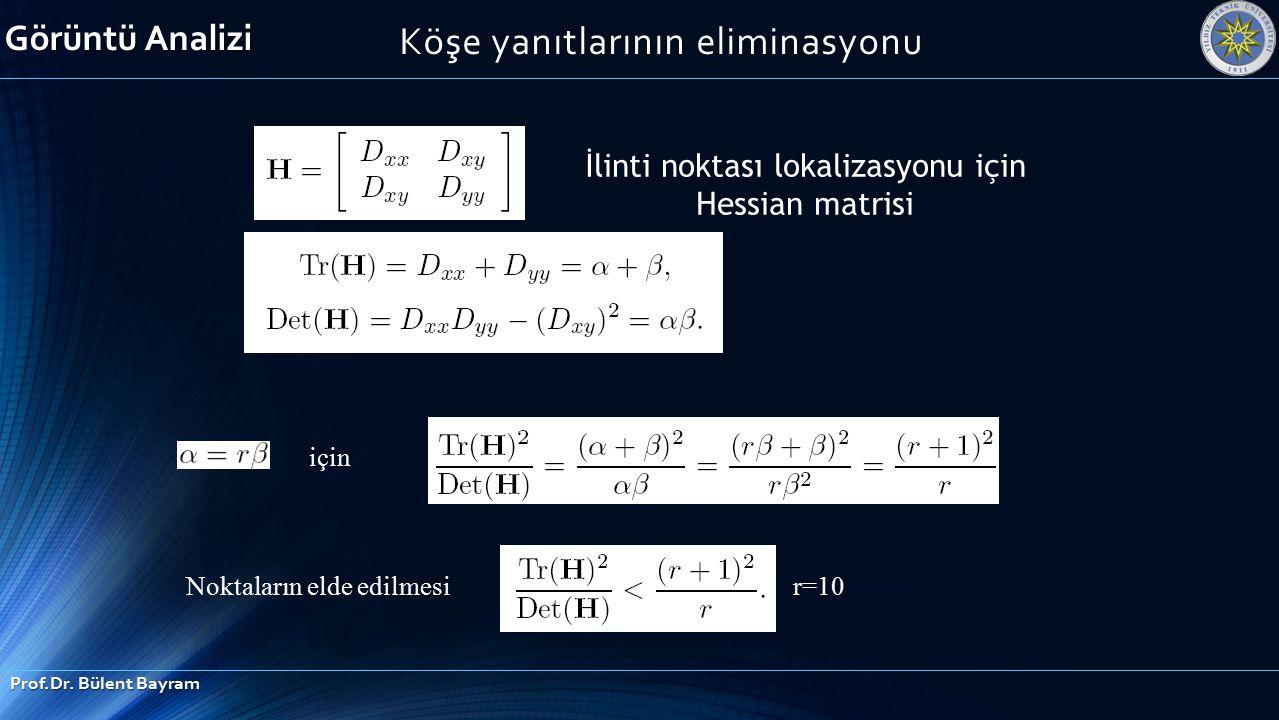 Köşe yanıtlarının eliminasyonu r=10 için Noktaların elde edilmesi İlinti noktası lokalizasyonu için Hessian matrisi Görüntü Analizi Prof.Dr. Bülent Ba
