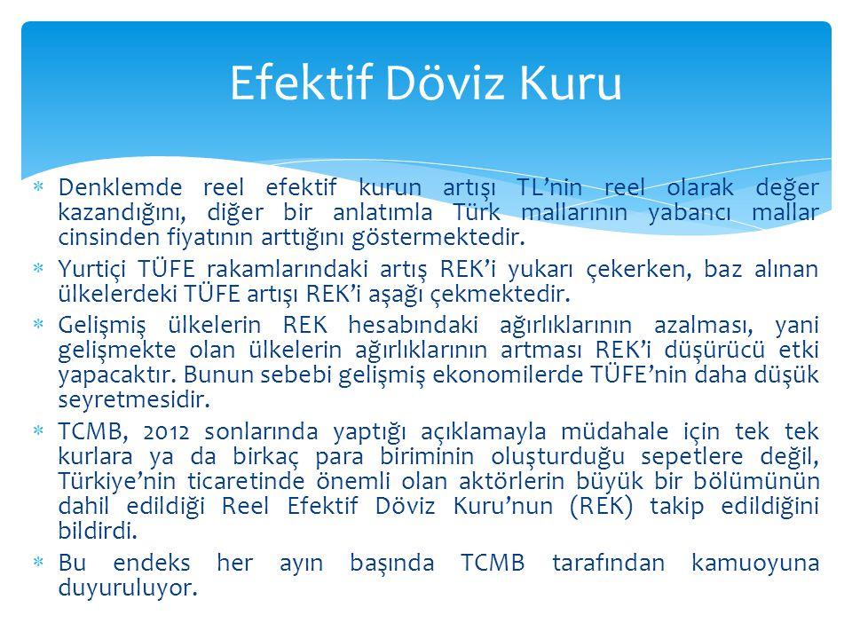  Denklemde reel efektif kurun artışı TL'nin reel olarak değer kazandığını, diğer bir anlatımla Türk mallarının yabancı mallar cinsinden fiyatının art