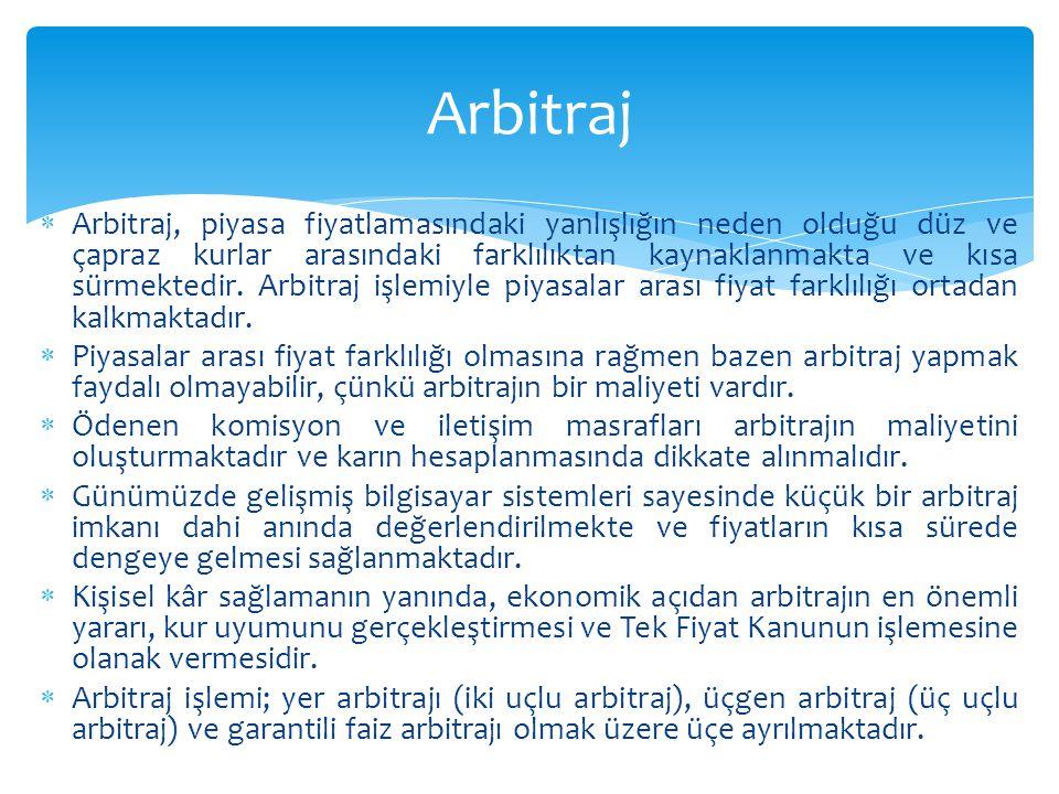  Arbitraj, piyasa fiyatlamasındaki yanlışlığın neden olduğu düz ve çapraz kurlar arasındaki farklılıktan kaynaklanmakta ve kısa sürmektedir. Arbitraj