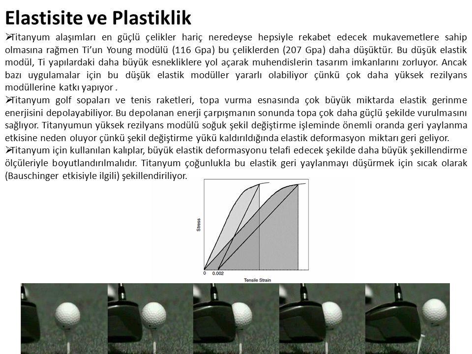 Elastisite ve Plastiklik  Titanyum alaşımları en güçlü çelikler hariç neredeyse hepsiyle rekabet edecek mukavemetlere sahip olmasına rağmen Ti'un Young modülü (116 Gpa) bu çeliklerden (207 Gpa) daha düşüktür.