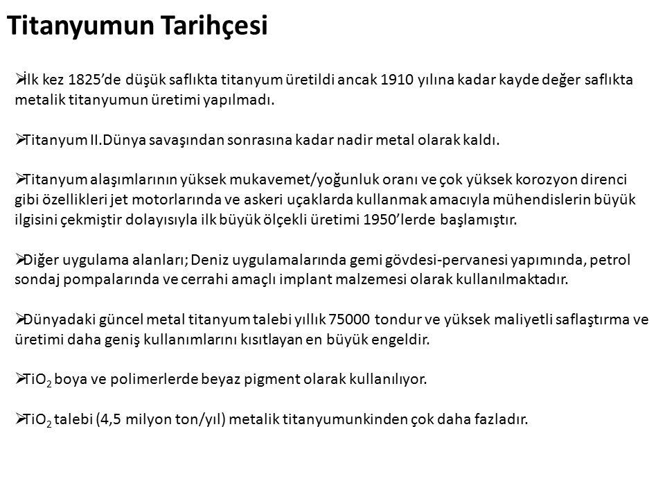 Titanyumun Tarihçesi  İlk kez 1825'de düşük saflıkta titanyum üretildi ancak 1910 yılına kadar kayde değer saflıkta metalik titanyumun üretimi yapılmadı.
