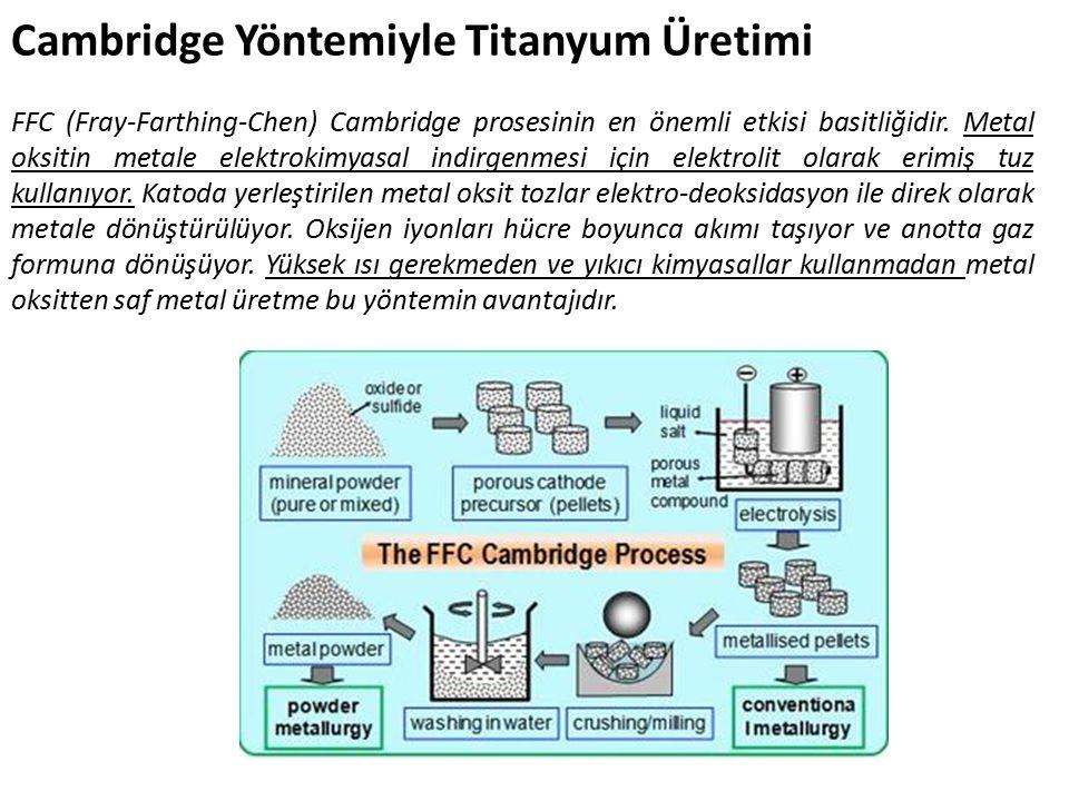 Cambridge Yöntemiyle Titanyum Üretimi FFC (Fray-Farthing-Chen) Cambridge prosesinin en önemli etkisi basitliğidir.