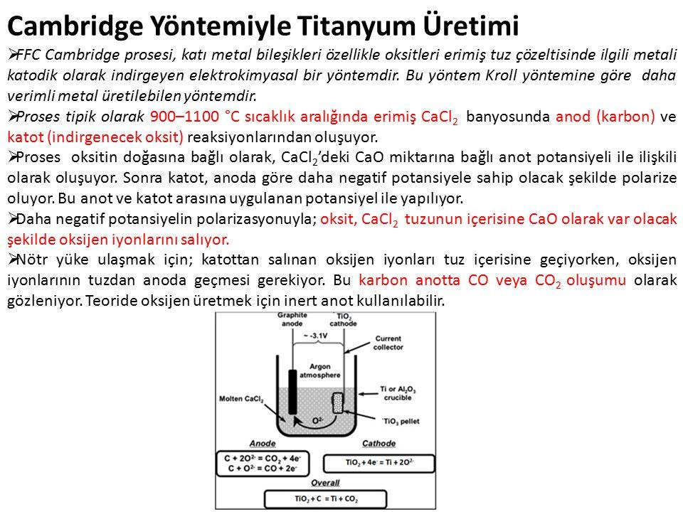  FFC Cambridge prosesi, katı metal bileşikleri özellikle oksitleri erimiş tuz çözeltisinde ilgili metali katodik olarak indirgeyen elektrokimyasal bir yöntemdir.