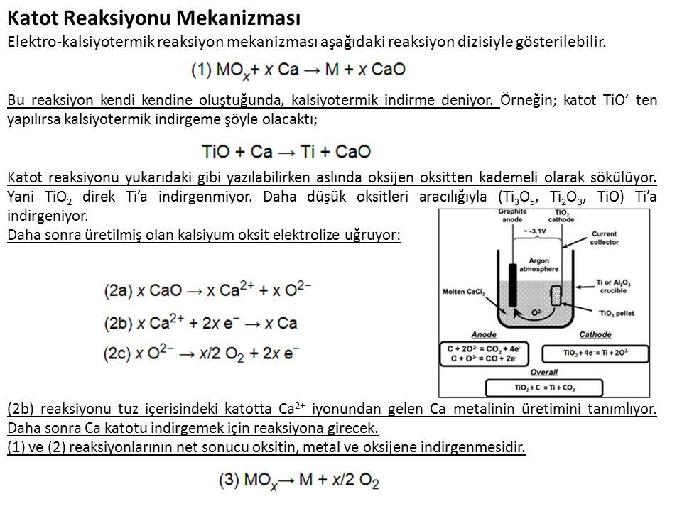 Katot Reaksiyonu Mekanizması Elektro-kalsiyotermik reaksiyon mekanizması aşağıdaki reaksiyon dizisiyle gösterilebilir.