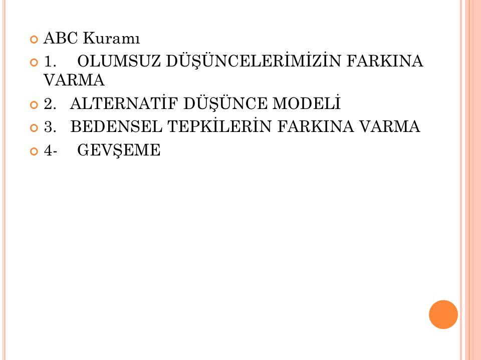ABC Kuramı 1.OLUMSUZ DÜŞÜNCELERİMİZİN FARKINA VARMA 2.