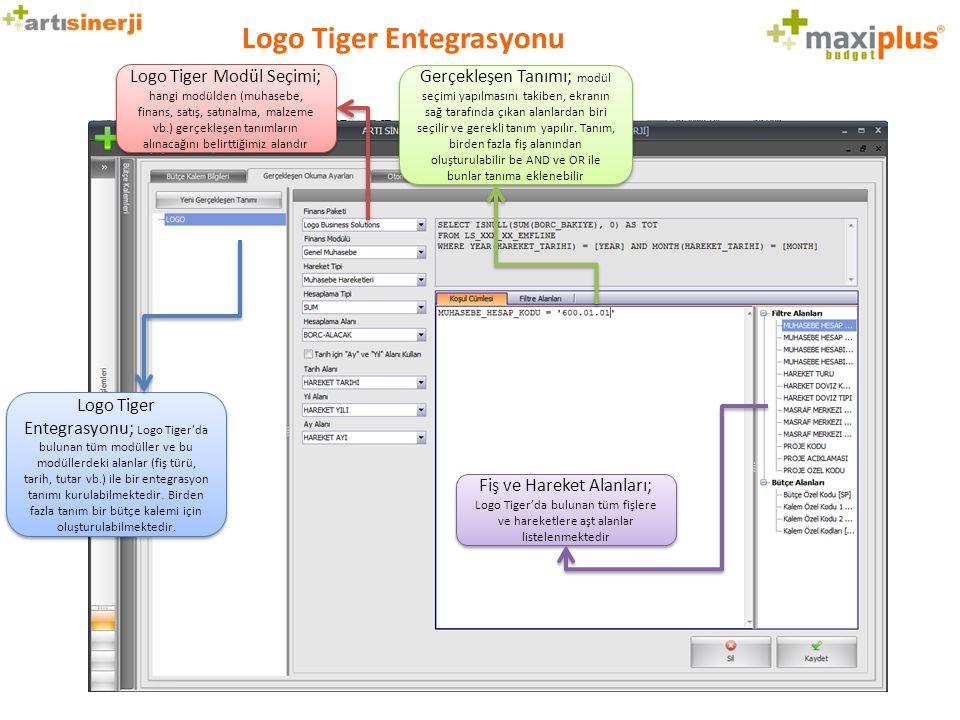 Logo Tiger Entegrasyonu Logo Tiger Modül Seçimi; hangi modülden (muhasebe, finans, satış, satınalma, malzeme vb.) gerçekleşen tanımların alınacağını b
