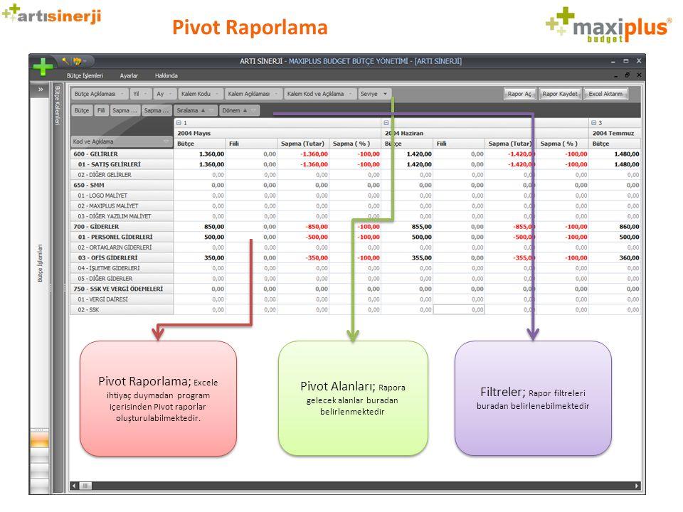 Pivot Raporlama Pivot Raporlama; Excele ihtiyaç duymadan program içerisinden Pivot raporlar oluşturulabilmektedir. Pivot Alanları; Rapora gelecek alan