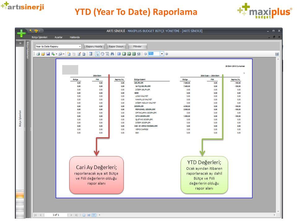 YTD (Year To Date) Raporlama Cari Ay Değerleri; raporlanacak aya ait Bütçe ve Fiili değerlerin olduğu rapor alanı YTD Değerleri; Ocak ayından itibaren