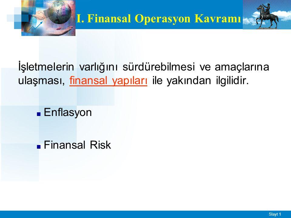 Slayt 1 İşletmelerin varlığını sürdürebilmesi ve amaçlarına ulaşması, finansal yapıları ile yakından ilgilidir. ■ Enflasyon ■ Finansal Risk I. Finansa