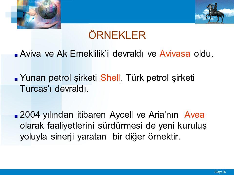 Slayt 26 ÖRNEKLER ■ Aviva ve Ak Emeklilik'i devraldı ve Avivasa oldu. ■ Yunan petrol şirketi Shell, Türk petrol şirketi Turcas'ı devraldı. ■ 2004 yılı