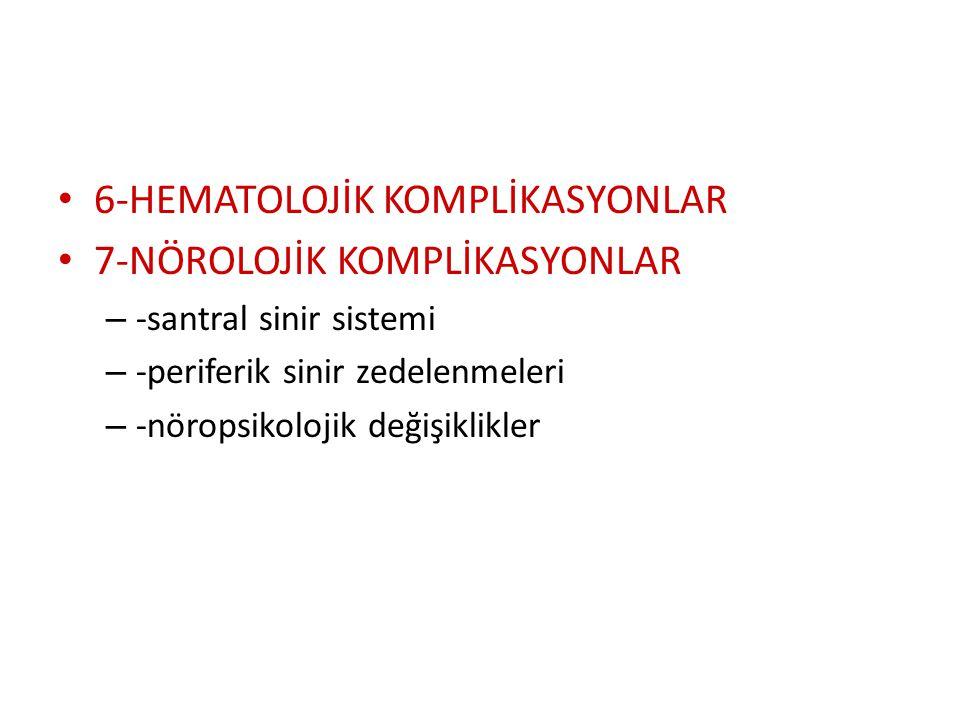 5-GASTROİNTESTİNAL SİSTEM KOMPLİKASYONLARI – -gastrointestinal kanama – -ülser perforasyonu – -bilier sistem komplikasyonları – -pankreatit – -mezente
