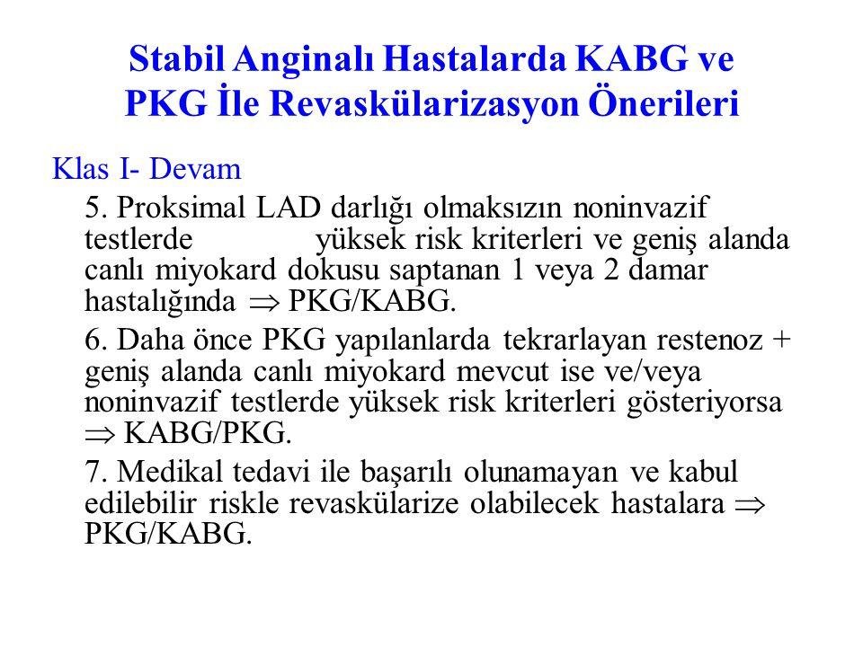 Stabil Anginalı Hastalarda KABG ve PKG ile Revaskülarizasyon Önerileri Klas I 1. Önemli LMCA darlığında  KABG 2. Üç damar hastalığı olanlarda  KABG.