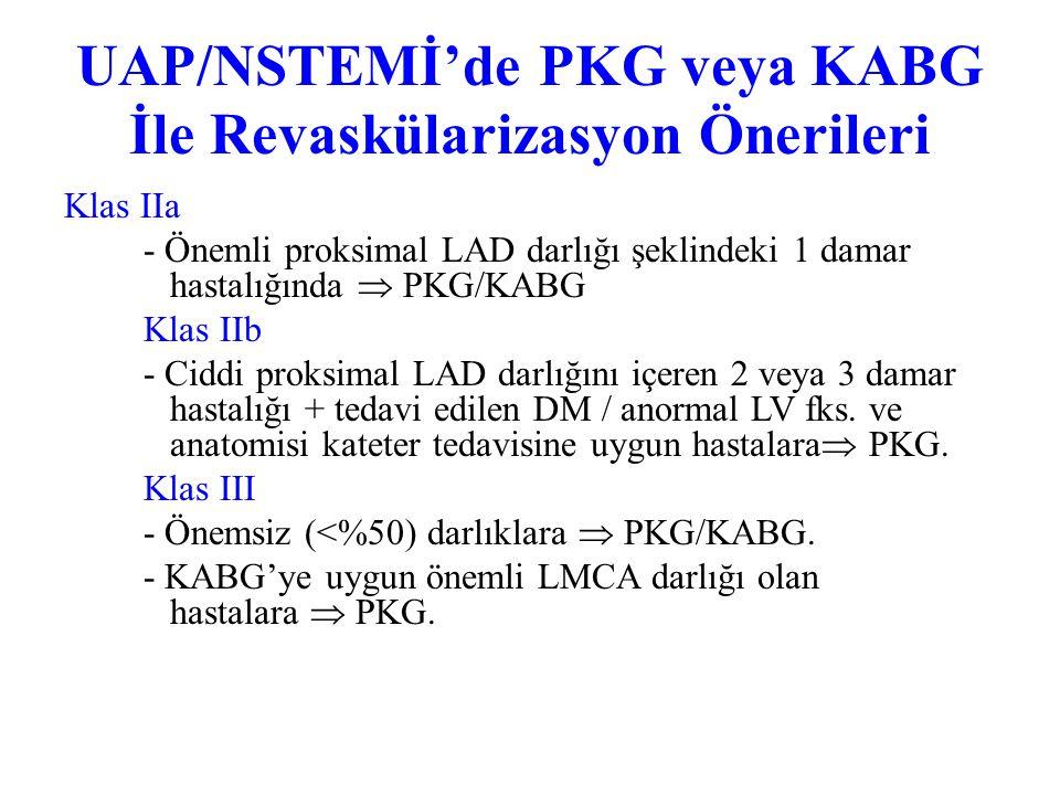 UAP/NSTEMİ'de PKG ve KABG İle Revaskülarizasyon Önerileri Klas I 1. Önemli LMCA darlığında KABG. 2. Üç damar hastalığı olanlarda KABG; Surviye faydası