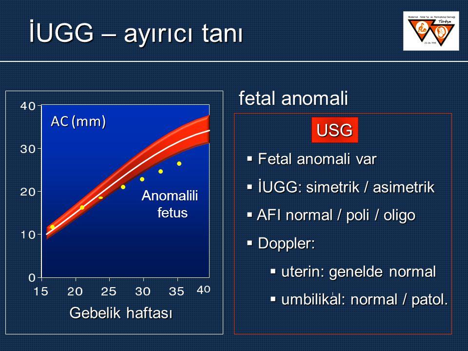 İUGG – ayırıcı tanı  Fetal anomali var  İUGG: simetrik / asimetrik  AFI normal / poli / oligo  Doppler:  uterin: genelde normal  umbilikal: norm