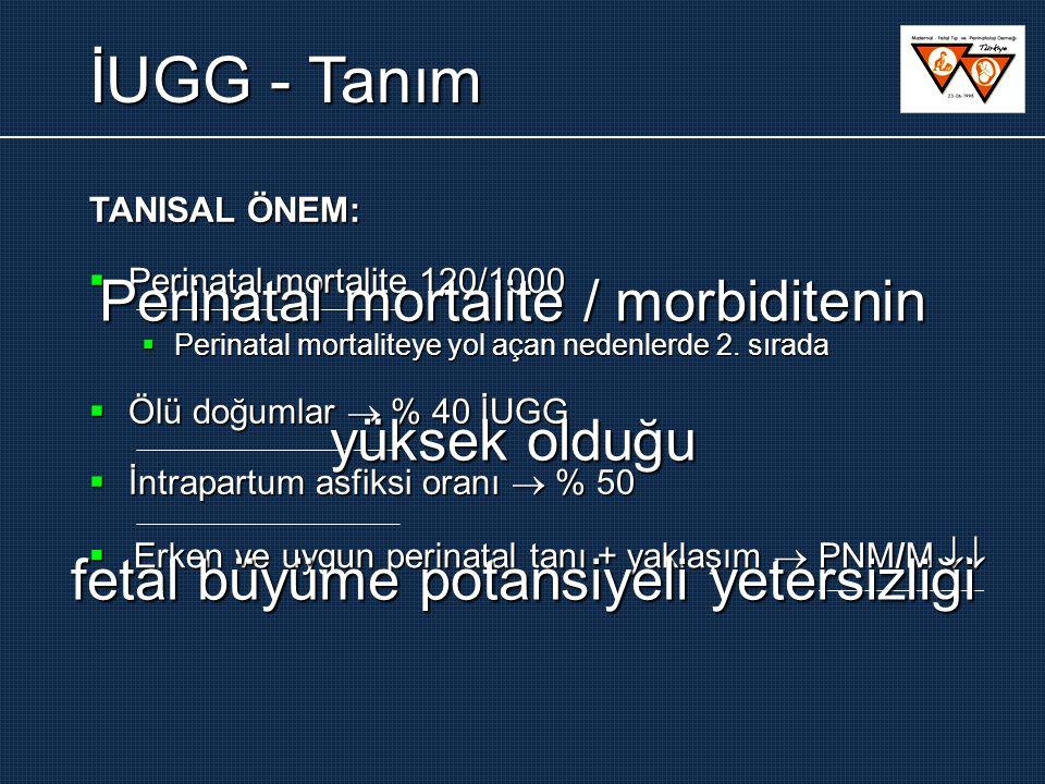 İUGG – ayırıcı tanı  Fetal anomali var  İUGG: simetrik / asimetrik  AFI normal / poli / oligo  Doppler:  uterin: genelde normal  umbilikal: normal / patol.
