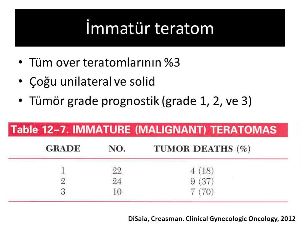 İmmatür teratom Tüm over teratomlarının %3 Çoğu unilateral ve solid Tümör grade prognostik (grade 1, 2, ve 3) DiSaia, Creasman. Clinical Gynecologic O