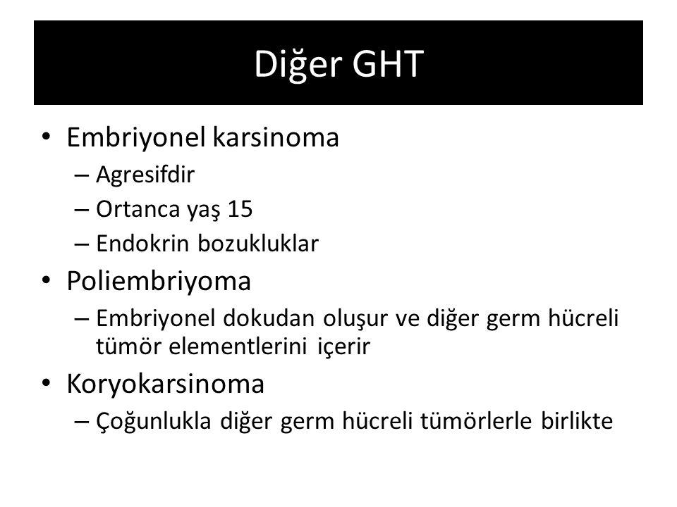 Diğer GHT Embriyonel karsinoma – Agresifdir – Ortanca yaş 15 – Endokrin bozukluklar Poliembriyoma – Embriyonel dokudan oluşur ve diğer germ hücreli tü