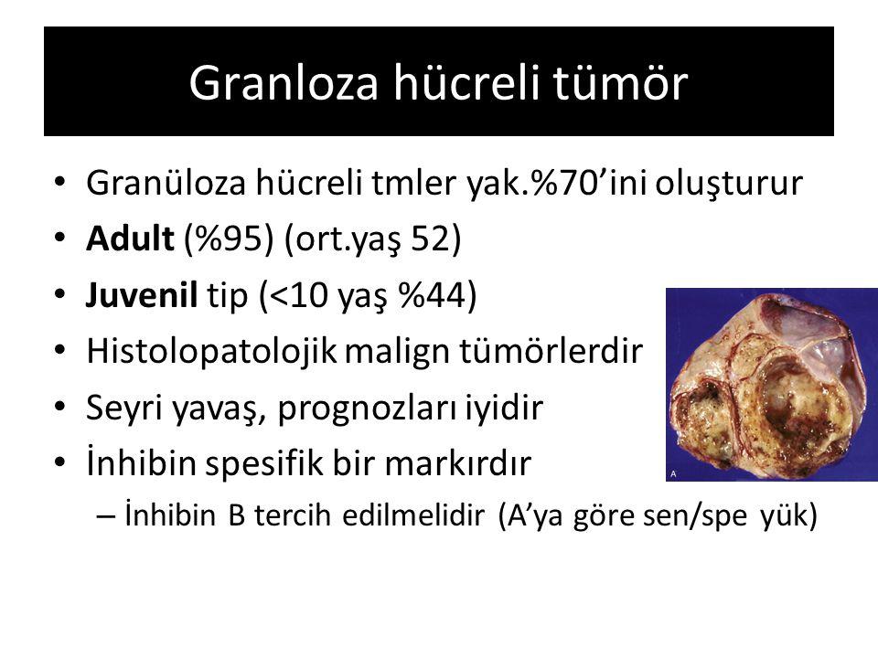 Granloza hücreli tümör Granüloza hücreli tmler yak.%70'ini oluşturur Adult (%95) (ort.yaş 52) Juvenil tip (<10 yaş %44) Histolopatolojik malign tümörl