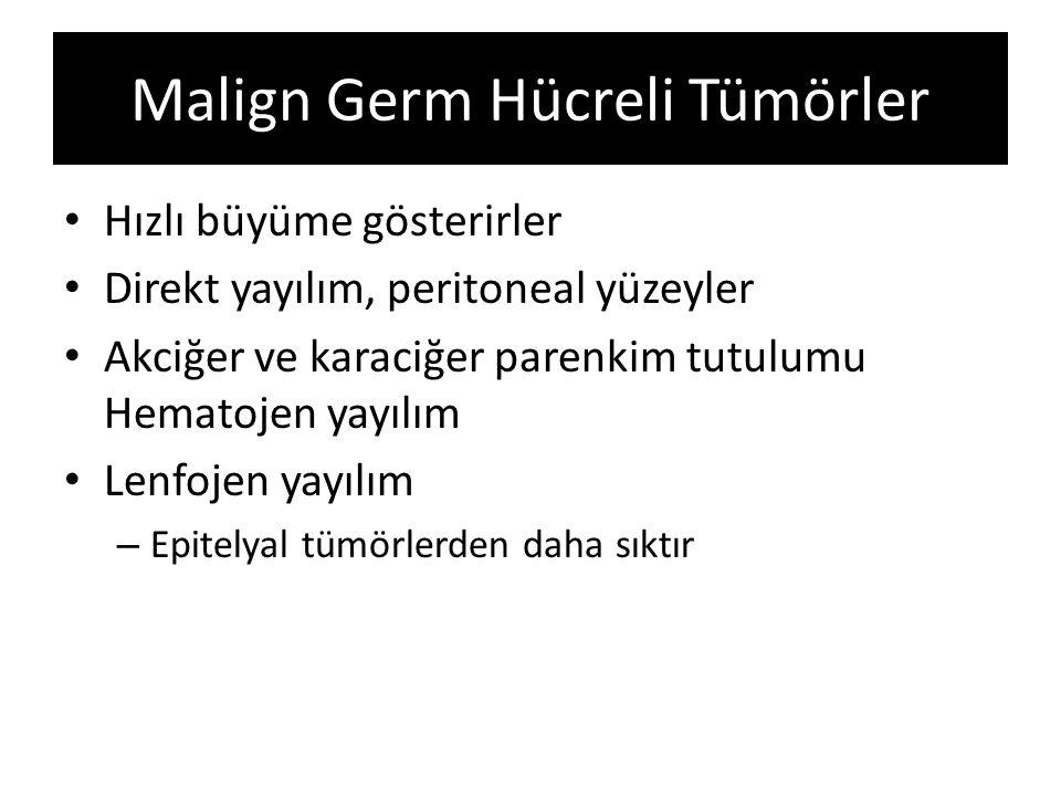 Malign Germ Hücreli Tümörler Hızlı büyüme gösterirler Direkt yayılım, peritoneal yüzeyler Akciğer ve karaciğer parenkim tutulumu Hematojen yayılım Len