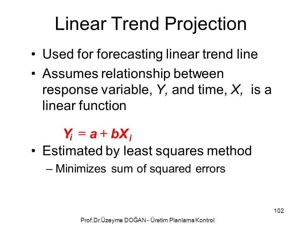 Used for forecasting linear trend line Assumes relationship between response variable, Y, and time, X, is a linear function Estimated by least squares method –Minimizes sum of squared errors i YabX i  Linear Trend Projection 102 Prof.Dr.Üzeyme DOĞAN - Üretim Planlama Kontrol