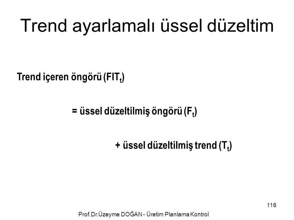 Trend ayarlamalı üssel düzeltim Trend içeren öngörü (FIT t ) = üssel düzeltilmiş öngörü (F t ) + üssel düzeltilmiş trend (T t ) 116 Prof.Dr.Üzeyme DOĞ