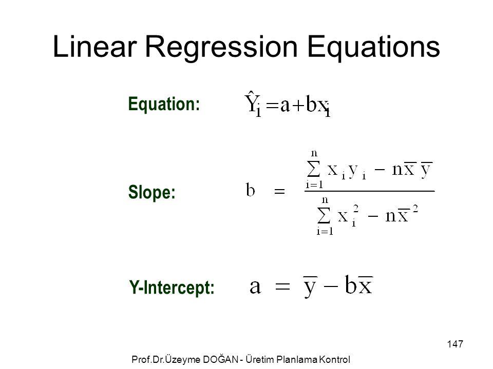 Linear Regression Equations Equation: Slope: Y-Intercept: 147 Prof.Dr.Üzeyme DOĞAN - Üretim Planlama Kontrol