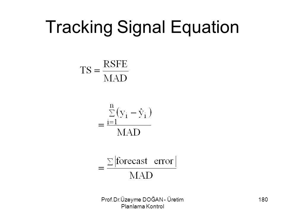 Tracking Signal Equation 180Prof.Dr.Üzeyme DOĞAN - Üretim Planlama Kontrol