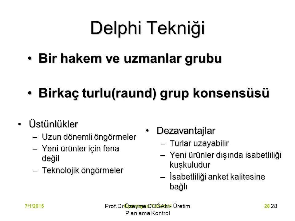 Operasyon Yönetimi287/1/2015 Delphi Tekniği ÜstünlüklerÜstünlükler –Uzun dönemli öngörmeler –Yeni ürünler için fena değil –Teknolojik öngörmeler Dezav