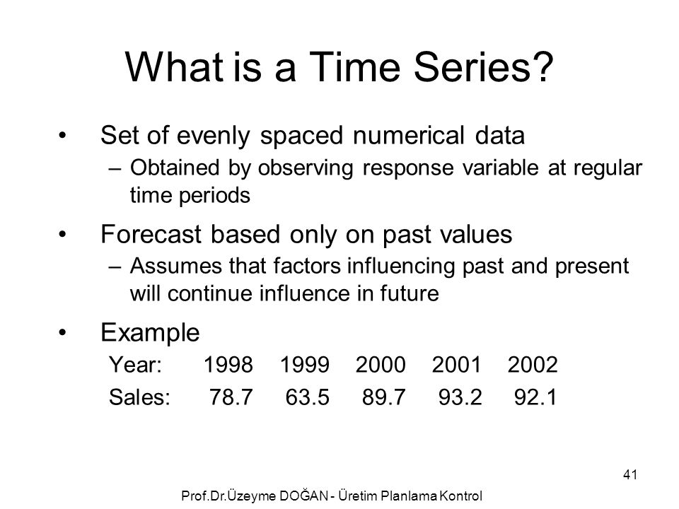Set of evenly spaced numerical data –Obtained by observing response variable at regular time periods Forecast based only on past values –Assumes that factors influencing past and present will continue influence in future Example Year:19981999200020012002 Sales:78.763.589.793.292.1 What is a Time Series.