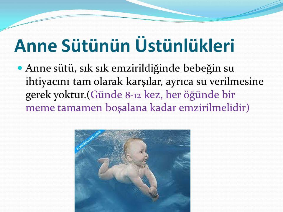 Anne Sütünün Üstünlükleri Anne sütü, sık sık emzirildiğinde bebeğin su ihtiyacını tam olarak karşılar, ayrıca su verilmesine gerek yoktur.(Günde 8-12