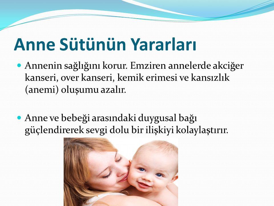 Anne Sütünün Yararları Annenin sağlığını korur. Emziren annelerde akciğer kanseri, over kanseri, kemik erimesi ve kansızlık (anemi) oluşumu azalır. An