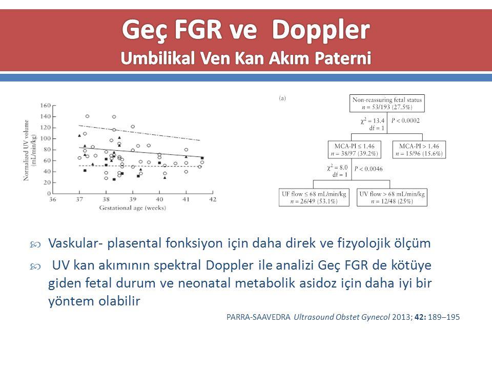  Vaskular- plasental fonksiyon için daha direk ve fizyolojik ölçüm  UV kan akımının spektral Doppler ile analizi Geç FGR de kötüye giden fetal durum