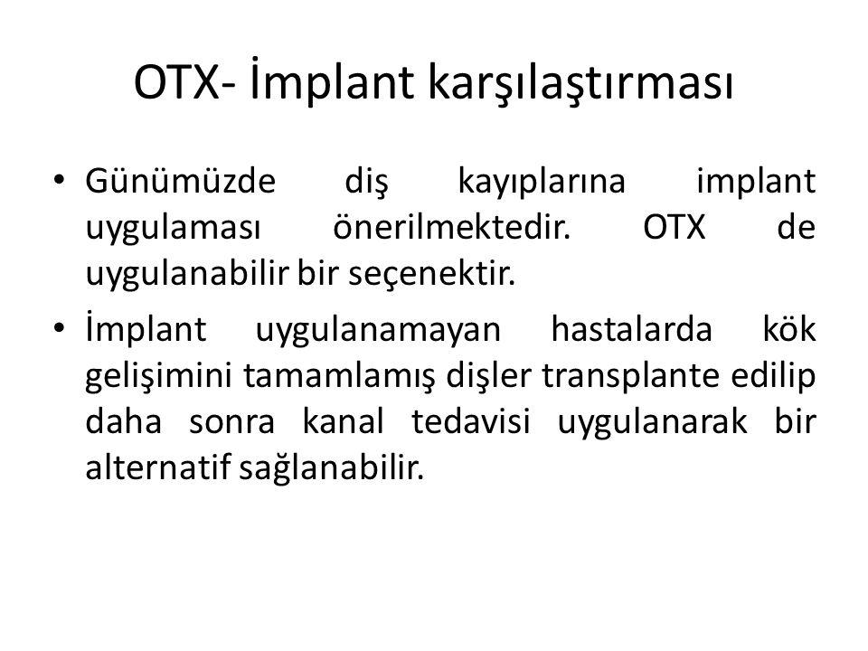 OTX- İmplant karşılaştırması Gelişim çağındaki genç hastalarda implant tedavisi özellikle maksilla anterior bölgede kontrendikedir.