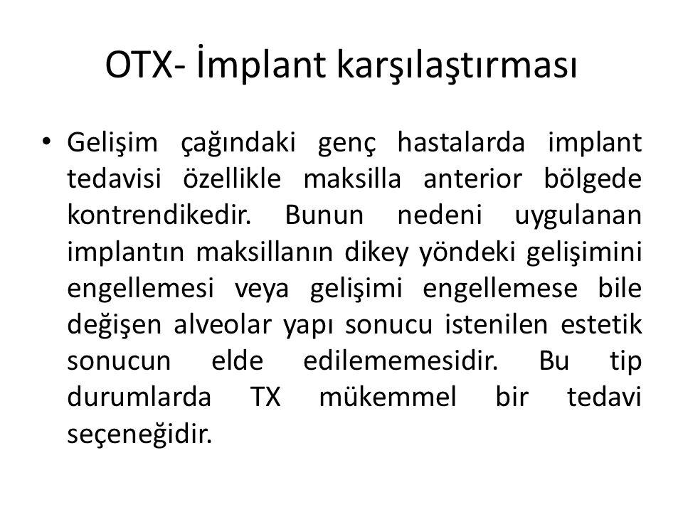 OTX- İmplant karşılaştırması Gelişim çağındaki genç hastalarda implant tedavisi özellikle maksilla anterior bölgede kontrendikedir. Bunun nedeni uygul