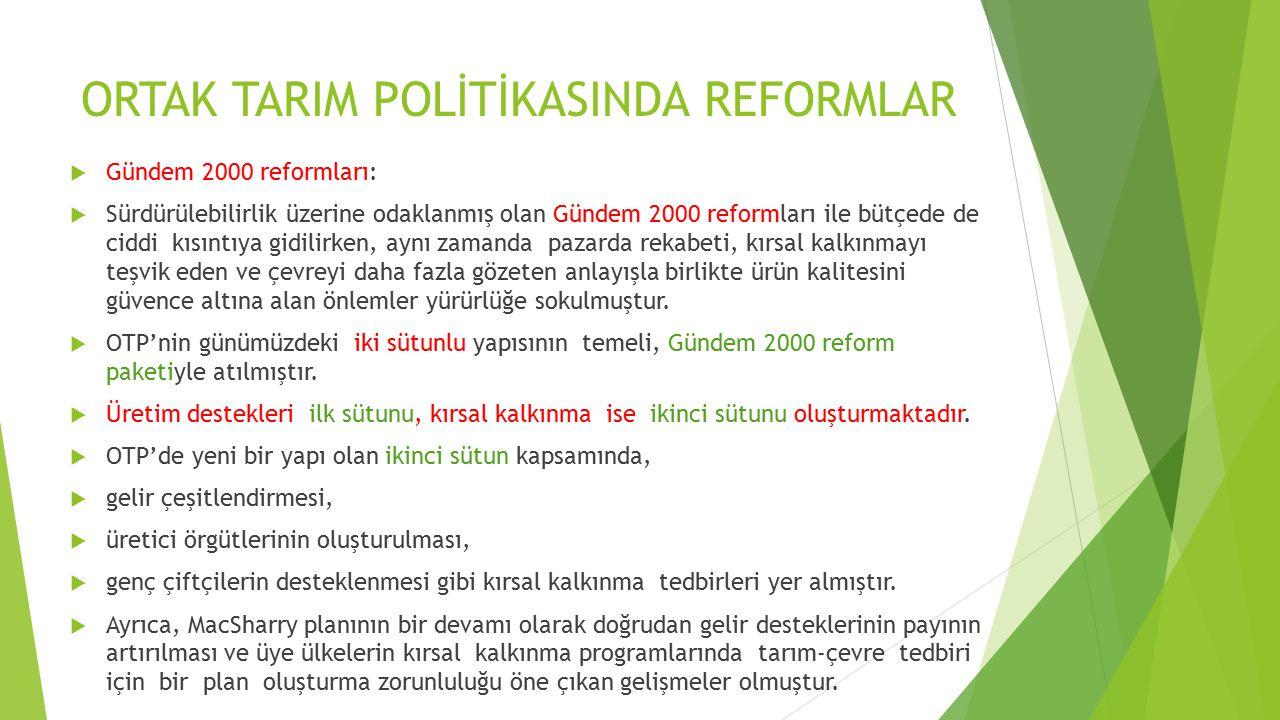 ORTAK TARIM POLİTİKASINDA REFORMLAR  Gündem 2000 reformları:  Sürdürülebilirlik üzerine odaklanmış olan Gündem 2000 reformları ile bütçede de ciddi kısıntıya gidilirken, aynı zamanda pazarda rekabeti, kırsal kalkınmayı teşvik eden ve çevreyi daha fazla gözeten anlayışla birlikte ürün kalitesini güvence altına alan önlemler yürürlüğe sokulmuştur.