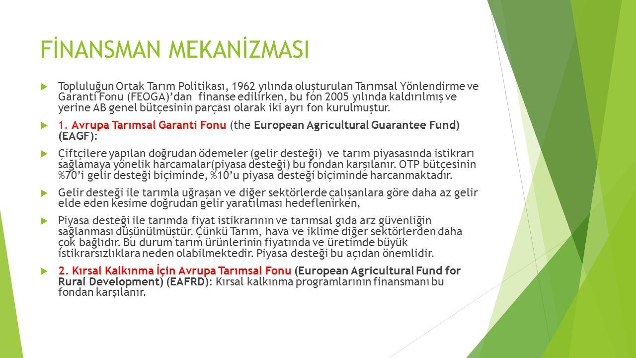 FİNANSMAN MEKANİZMASI  Topluluğun Ortak Tarım Politikası, 1962 yılında oluşturulan Tarımsal Yönlendirme ve Garanti Fonu (FEOGA)'dan finanse edilirken, bu fon 2005 yılında kaldırılmış ve yerine AB genel bütçesinin parçası olarak iki ayrı fon kurulmuştur.