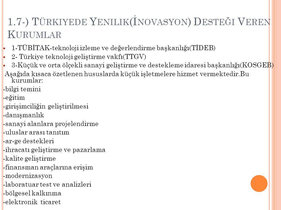 1.7-) T ÜRKIYEDE Y ENILIK (İ NOVASYON ) D ESTEĞI V EREN K URUMLAR 1-TÜBİTAK-teknoloji izleme ve değerlendirme başkanlığı(TİDEB) 2- Türkiye teknoloji g