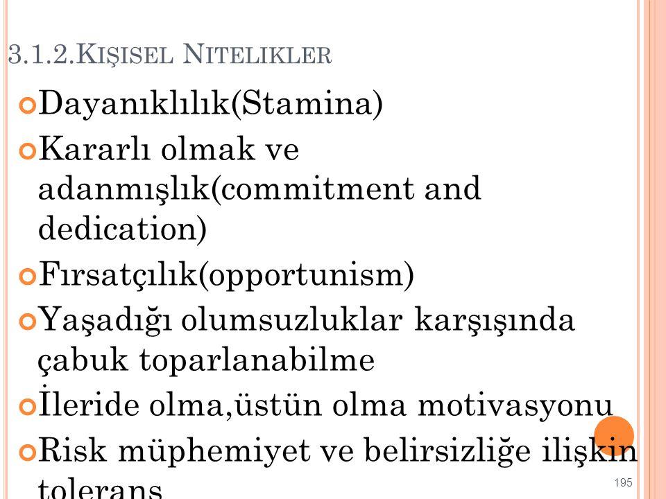 3.1.2.K IŞISEL N ITELIKLER Dayanıklılık(Stamina) Kararlı olmak ve adanmışlık(commitment and dedication) Fırsatçılık(opportunism) Yaşadığı olumsuzlukla