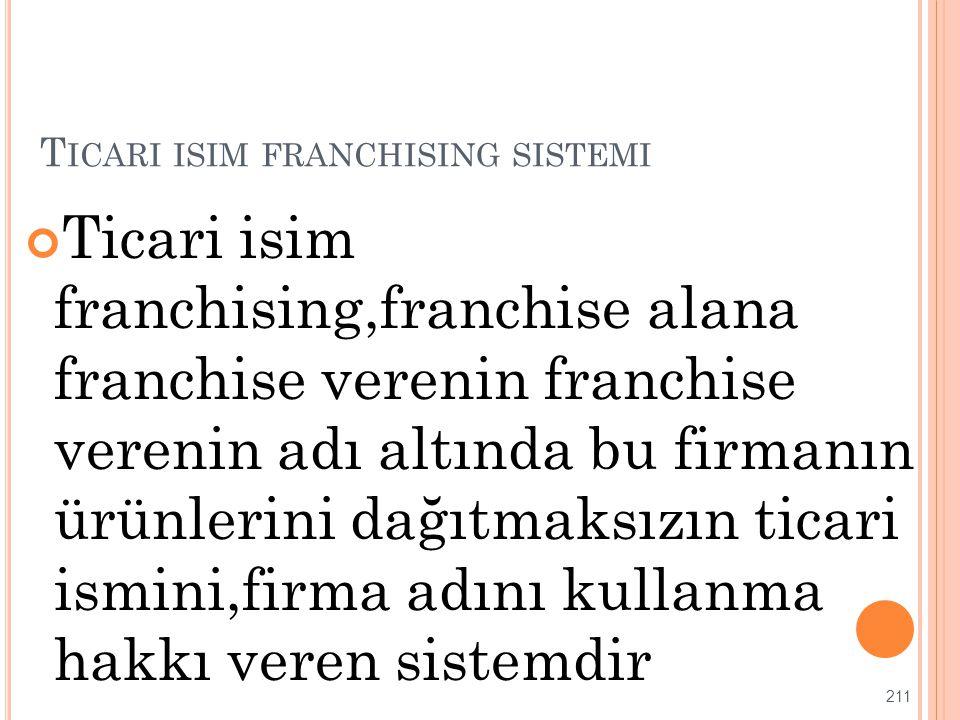 T ICARI ISIM FRANCHISING SISTEMI Ticari isim franchising,franchise alana franchise verenin franchise verenin adı altında bu firmanın ürünlerini dağıtm
