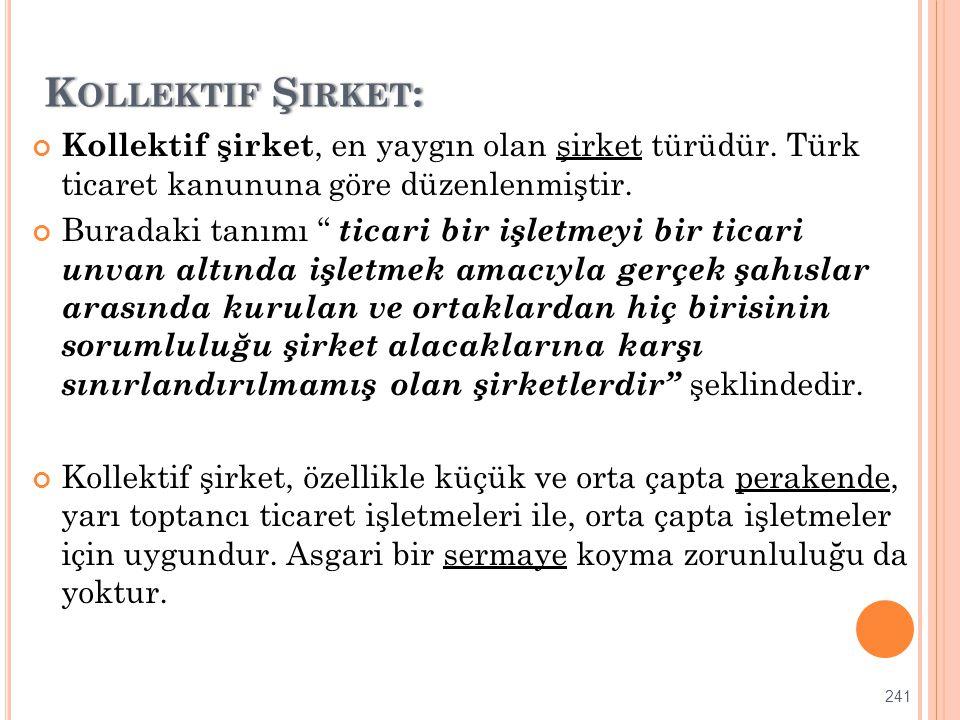 """K OLLEKTIF Ş IRKET :K OLLEKTIF Ş IRKET : Kollektif şirket, en yaygın olan şirket türüdür. Türk ticaret kanununa göre düzenlenmiştir. Buradaki tanımı """""""
