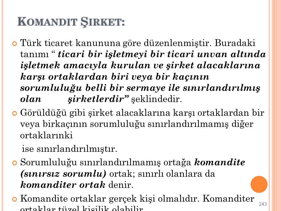 """K OMANDIT Ş IRKET :K OMANDIT Ş IRKET : Türk ticaret kanununa göre düzenlenmiştir. Buradaki tanımı """" ticari bir işletmeyi bir ticari unvan altında işle"""