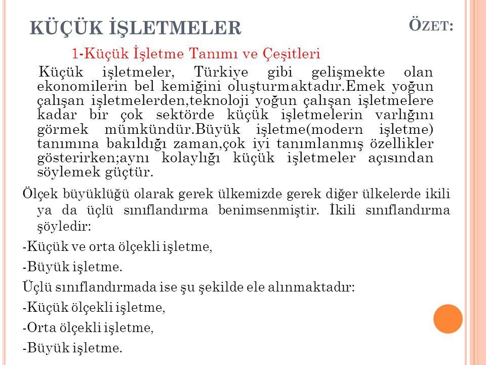 KÜÇÜK İŞLETMELER 1-Küçük İşletme Tanımı ve Çeşitleri Küçük işletmeler, Türkiye gibi gelişmekte olan ekonomilerin bel kemiğini oluşturmaktadır.Emek yoğ