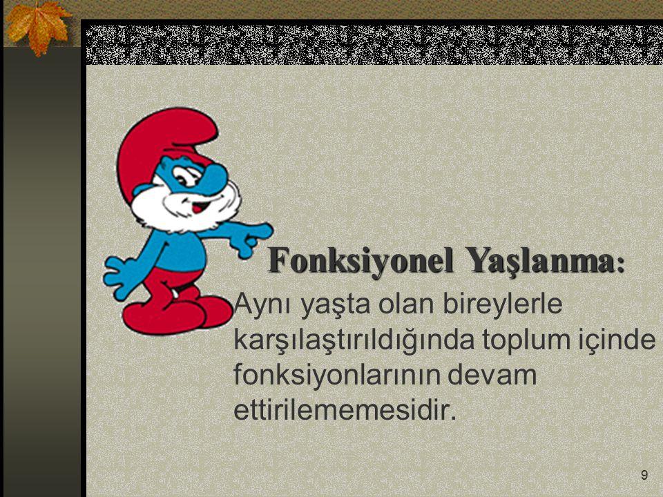 20 Türkiye'de 65 yaş üstü gerçekleşen ölüm nedenleri: %43.2-------Kalp hastalıkları %10.3-------Kanserler %8.4---------Serebrovasküler Hastalık
